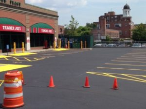 Trader Joes With Fresh Seal And Lines With Cones And A Barrel Retail